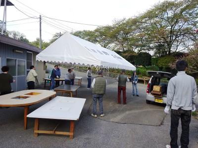 17日朝・会場準備・テント張り