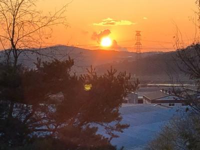 2019年最後の夕日 ー10℃