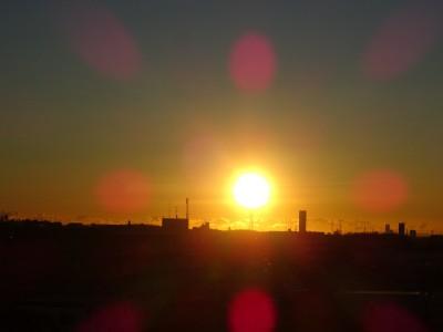 生活館屋上からの朝日ー2